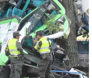 Bus Crashes Colombian Ravine, 11 fatalities, 17 injured