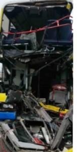 Hong Kong Double Decker in 3 way crash