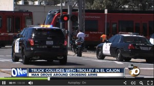 Driver Hospitalized with Traumatic Injury After Trolley Collision