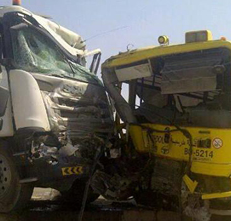 School Bus Collided with Truck in Ras Al Khaimah, 21 Injured